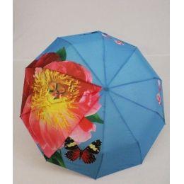 geblümter Regenschirm Automatik Taschenschirm hellblau Damenschirm Susino 0312F