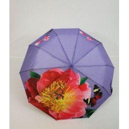 geblümter Regenschirm Automatik Taschenschirm lila Damenschirm Susino 0312F