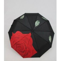 geblümter Regenschirm Automatik Taschenschirm Rose Damenschirm Susino 0312F
