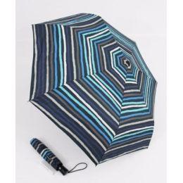 Happy Rain Automatik Regenschirm blau gestreifter Taschenschirm 46857