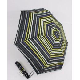 Happy Rain Automatik Regenschirm gelb gestreifter Taschenschirm 46857