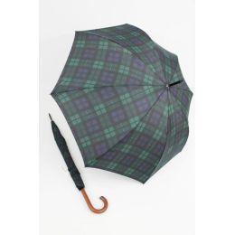 Happy Rain großer Stockschirm grün/schwarz karierter Regenschirm 118 cm