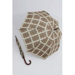 Happy Rain großer Stockschirm hellbraun karierter Regenschirm 118 cm