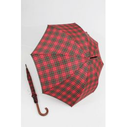 Happy Rain großer Stockschirm rot karierter Regenschirm 118 cm