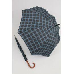 Happy Rain großer Stockschirm schwarz/blau karierter Regenschirm 118 cm