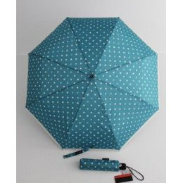 Pierre Cardin blauer Regenschirm Automatik Taschenschirm Damen Punkte