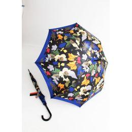 Pierre Cardin bunter Regenschirm Stockschirm für Damen Layered Leafs blau