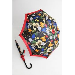 Pierre Cardin bunter Regenschirm Stockschirm für Damen Layered Leafs rot