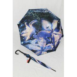 Pierre Cardin geblümter Stockschirm Regenschirm orchidee blau