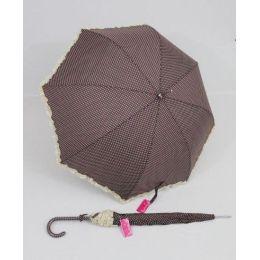 Susino Regenschirm brauner Stockschirm Dots Punkte Rüschen