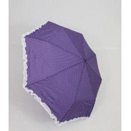 Susino Regenschirm lila Taschenschirm Dots weiße Punkte