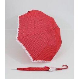 Susino Regenschirm roter Stockschirm gepunktet Dots Punkte Rüschen