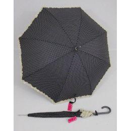 Susino Regenschirm schwarzer Stockschirm gepunktet Dots Punkte Rüschen