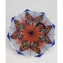 Susino Regenschirm Stockschirm blau Schmetterlinge 06