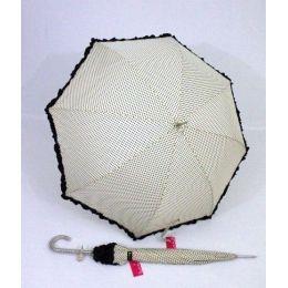 Susino Regenschirm Stockschirm creme gepunktet Dots Punkte Rüschen