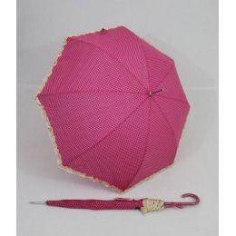 Susino Regenschirm Stockschirm pink gepunktet Dots Punkte Rüschen
