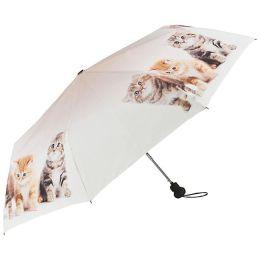 """Von Lilienfeld Regenschirm Taschenschirm """" Katzentrio """" Damen"""