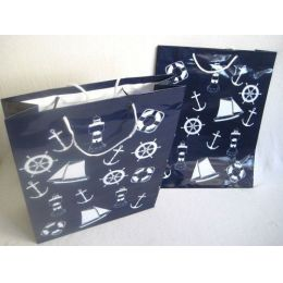 **10 Stück- Maritim- Große Geschenktüten- lackiert- 33 cm