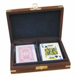 **2 Kartenspiele in edler Holzbox mit Messingintarsien