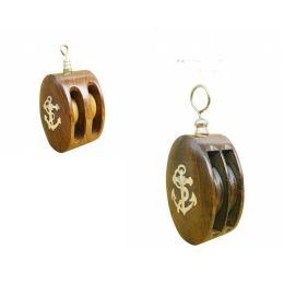 **2er Set- Doppelte Blockrolle aus Holz und Messing- Ankermotiv- maritime Deko
