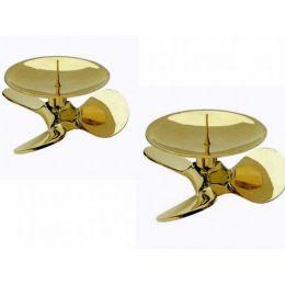 **2er Set- Maritimer Kerzenständer-Schraube- Messing- 12 cm