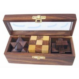 **3 Knobelspiele - in dekorativer Holzbox mit Glasdeckel