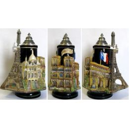 3D-Relief Bierkrug-Paris- Eifelturm,Kathetrale,Sacr?-C?ur Montmartre,Triumphbogen -German Beer Stein