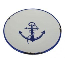 **4 Stück-Teller - Steingut lasiert in Emaille- Optik, Shabby, Landhaus blau/weiß