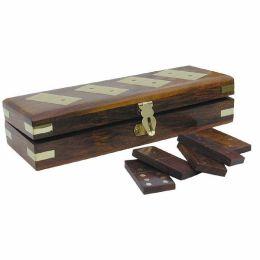 **Dominospiel in Holzbox mit Messingintarsien incl. 28 Steine- sehr edel