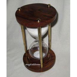 **Edle Sanduhr Stundenglas Holz/Messingsäulen 3 min Höhe 13 cm