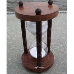 **Edle Sanduhr Stundenglas Holzsäulen 5 min Höhe 15,5 cm