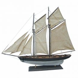 **Edle Segel- Yacht- Schiffsmodell - ANTIKDESIGN- Holz 85 cm- Stoffsegel, Holz