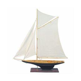 **Edle Yacht, Segelschiff, Schiffsmodel Segelboot Holz 85 cm- Stoffsegel, Holz