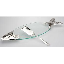 **Edle, große Fischplatte mit Heber, versilbert, pflegleicht und anlaufgeschützt
