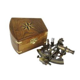 **Edler Sextant im Antikdesign mit Holzbox 13 cm
