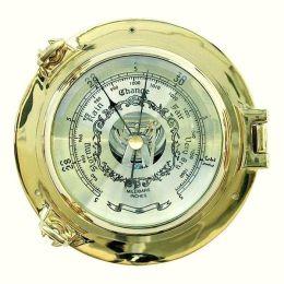 **Edles Barometer in Bullaugenform aus massiv Messing- Durchmesser 14 cm