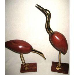**Edles Paar- Kranich, Reiher, Fischreier aus Holz und Messing- H 41 und 28 cm
