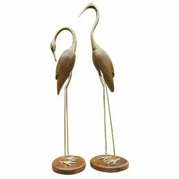 **Edles Paar- Kranich, Reiher, Fischreier aus Holz und Messing- H 80 und 70 cm