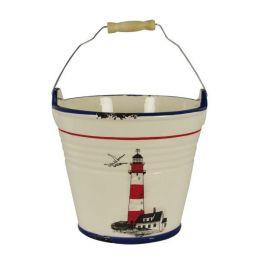 **Eimer - Leuchtturmdesign keramikartig und lasiert in Emaille-Optik, Shabby, Landhaus