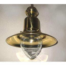 **Elegante Messing- Schiffslampe - Schiffsleuchte - Hängelampe H 43 cm