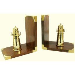 *Exclusive Buchstützen aus Holz/Messing mit Leuchtturm