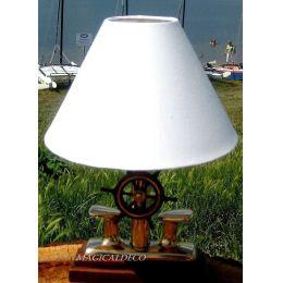 **Exclusive- Maritime- Lampe - Poller mit Steuerrad + Stoffschirm 35 cm