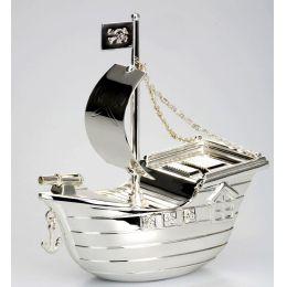 **Exlusive Spardose Kogge, Schiff, Piratenflagge versilbert und anlaufgeschützt- massiv 380 g