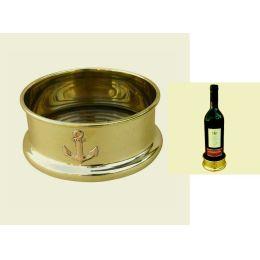 **Flaschen- Untersetzer aus Messing/Holz - Motiv Anker - 10 cm