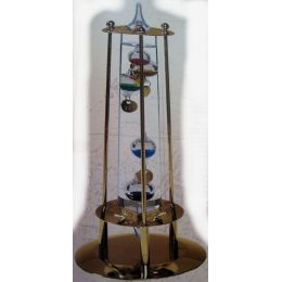 **Galileo Thermometer mit Metallgehäuse- vergoldet - Made Germany