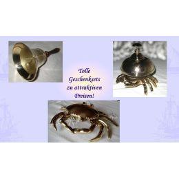 **Geschenkeset- Große Handglocke, Tresenglocke und Aschenbecher in Krabbenform- Messing