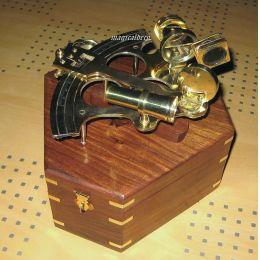 **Großer Sextant mit Microeinstellung 23,5 cm + Holzbox 30 cm