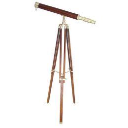 **Großes Teleskop aus Messing mit Holzummantelung und Holzstativ- 130 cm