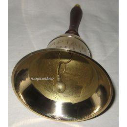 **Handglocke Messing mit Prägung CAPTAIN S BELL mit Holzgriff - H 16 cm
