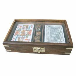 **Karten/Würfelbox mit Glasdeckel - Holz+ Messingintarsien incl.Kartenspiel+Würfel